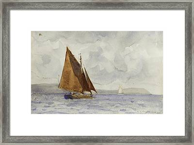 Framed Print featuring the painting Bawley Running Up The Coast by Henry Scott Tuke