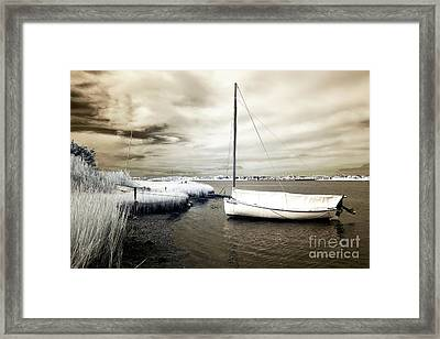 Bay Boat Brown Infrared Framed Print by John Rizzuto