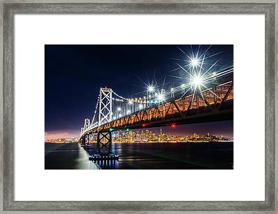 Bay Bridge And San Francisco By Night 5 Framed Print