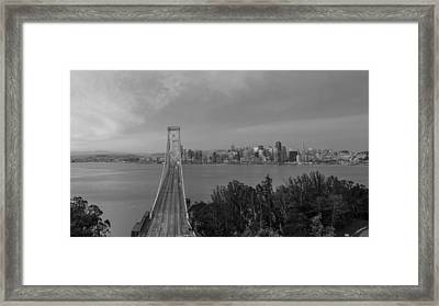 Bay Bridge And San Fransico Black And White  Framed Print by John McGraw