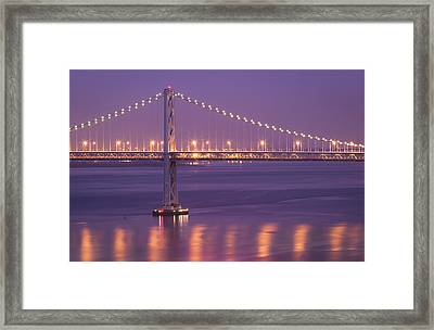 Bay Bridge At Dusk Framed Print by Sean Duan