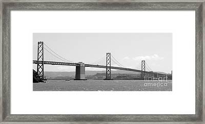 Bay Bridge In Black And White Framed Print by Carol Groenen