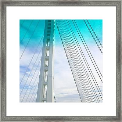 Bay #bridge Section. Love The Aqua Tint Framed Print