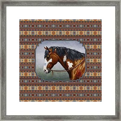 Bay Native American War Horse Southwest Framed Print by Crista Forest