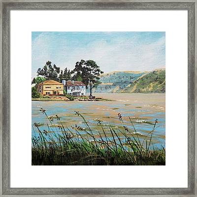 Bay Scenery With Houses Framed Print