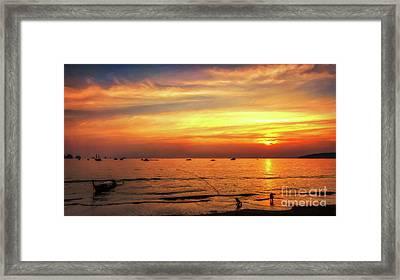 Bay Sunset Framed Print by Adrian Evans