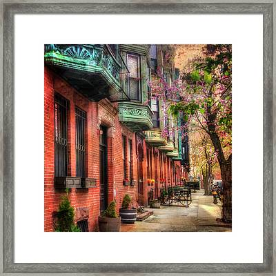 Bay Village Brownstones And Cherry Blossoms - Boston Framed Print by Joann Vitali