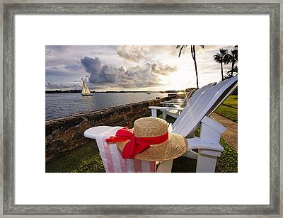 Bay With A Straw Hat And Adirondack Chairs Hamilton Bermuda Framed Print by George Oze