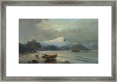Bay With Boats Framed Print by Konstantinos Volanakis