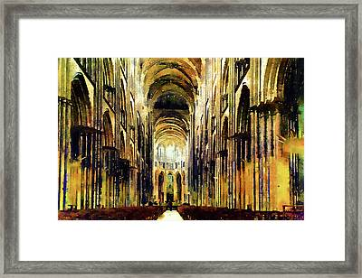 Bayeux Cathedral Golden Morning Framed Print by Georgiana Romanovna
