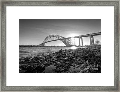Bayonne Bridge Black And White Framed Print