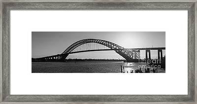Bayonne Bridge Panorama Bw Framed Print by Michael Ver Sprill