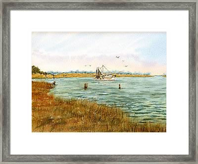 Bayou Shrimping Framed Print by Barry Jones