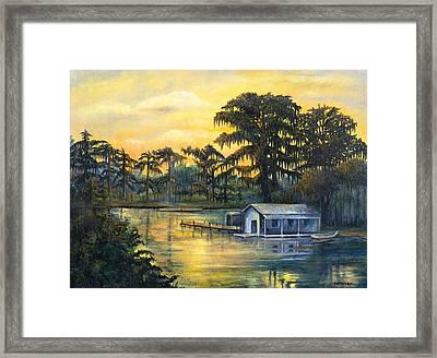 Bayou Sunset Framed Print by Elaine Hodges