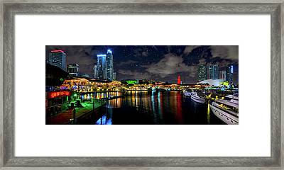 Bayside Miami Florida At Night Under The Stars Framed Print