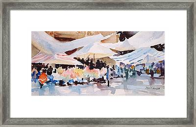 Bazaar Sabado Framed Print by Joan  Jones