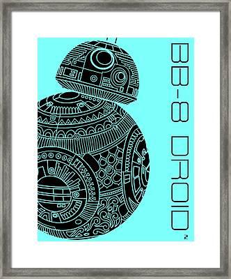 Bb8 Droid - Star Wars Art, Blue Framed Print