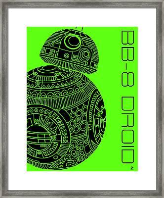 Bb8 Droid - Star Wars Art, Green Framed Print