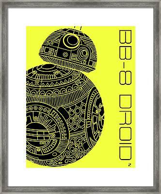 Bb8 Droid - Star Wars Art, Yellow Framed Print