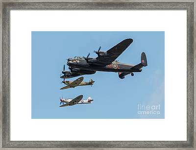 Bbmf Lancaster And Spitfires Framed Print