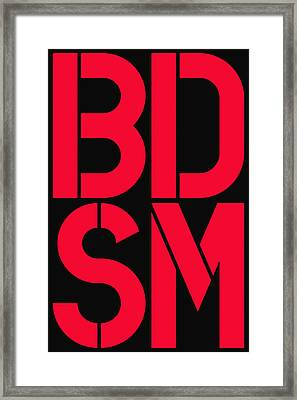 Bdsm Black And Red Framed Print by Three Dots