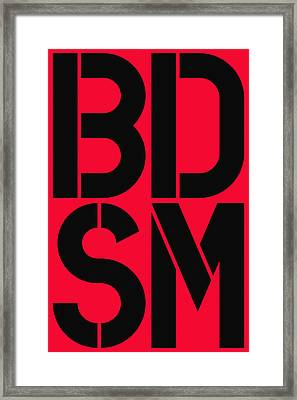 Bdsm Red And Black Framed Print by Three Dots