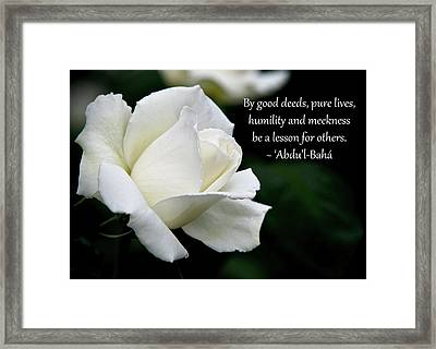 Be A Lesson To Others Framed Print by Baha'i Writings As Art