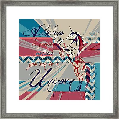 Be A Unicorn 1 Framed Print by Brandi Fitzgerald