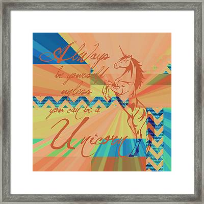 Be A Unicorn 3 Framed Print by Brandi Fitzgerald