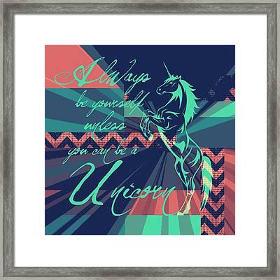 Be A Unicorn 2 Framed Print by Brandi Fitzgerald