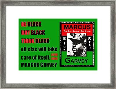 Be Black Garvey Framed Print by Adenike AmenRa