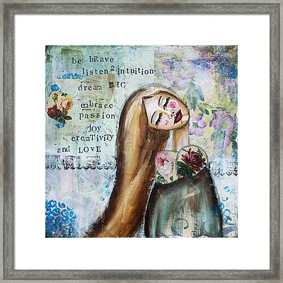 Be Brave Inspirational Mixed Media Folk Art Framed Print