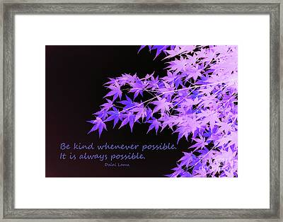 Be Kind Framed Print by Susan Lafleur