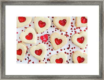 Framed Print featuring the photograph Be Mine Heart Cookies by Teri Virbickis