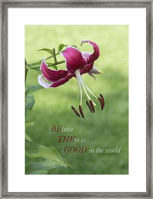 Framed Print featuring the photograph Be The Good by Jeanne May