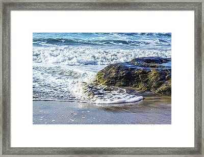 Wave Around A Rock Framed Print