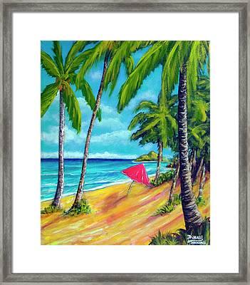 Beach And Mokulua Islands  #368 Framed Print by Donald k Hall