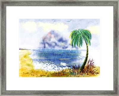 Beach And Palm Tree Of D.r.  Framed Print