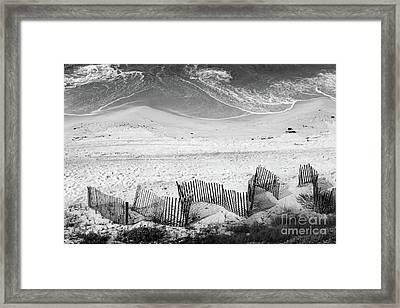 Beach Art Black And White Framed Print by Karen Adams