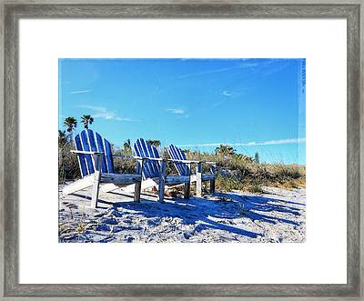 Beach Art - Waiting For Friends - Sharon Cummings Framed Print by Sharon Cummings