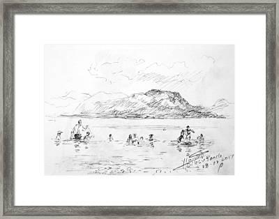 Beach At  Aegean Sea Greece Framed Print