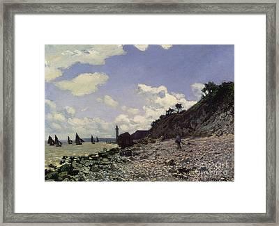 Beach At Honfleur Framed Print by Claude Monet