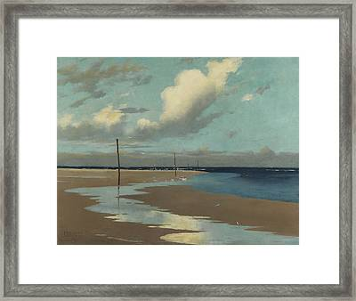 Beach At Low Tide Framed Print by Frederick Milner