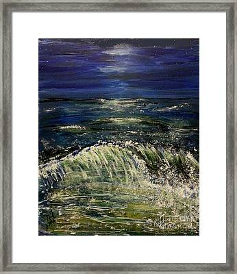 Beach At Night Framed Print