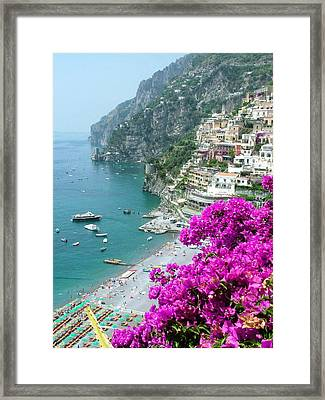 Beach At Positano Framed Print by Donna Corless