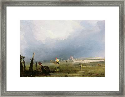 Beach At Shoreham Framed Print by Anthony Vandyke Copley Fielding