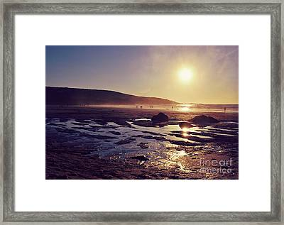 Framed Print featuring the photograph Beach At Sunset by Lyn Randle