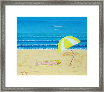Beach Babe With All She Needs Framed Print by Alex Mortensen
