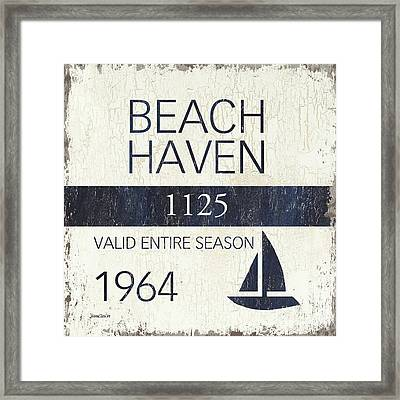 Beach Badge Beach Haven Framed Print by Debbie DeWitt