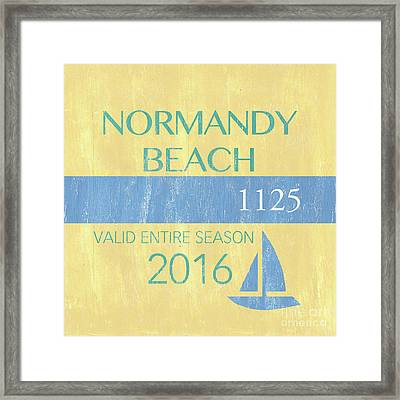 Beach Badge Normandy Beach 2 Framed Print by Debbie DeWitt